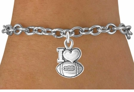 "<bR>               EXCLUSIVELY OURS!!<Br>         AN ALLAN ROBIN DESIGN!!<BR>CLICK HERE TO SEE 120+ EXCITING<BR>   CHANGES THAT YOU CAN MAKE!<BR>              LEAD & NICKEL FREE!!<BR>   W679SB - ""I LOVE FOOTBALL"" &<Br>   BRACELET FROM $4.50 TO $8.35"
