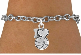 "<bR>               EXCLUSIVELY OURS!!<Br>         AN ALLAN ROBIN DESIGN!!<BR>CLICK HERE TO SEE 120+ EXCITING<BR>   CHANGES THAT YOU CAN MAKE!<BR>              LEAD & NICKEL FREE!!<BR>W681SB - ""I LOVE BASKETBALL"" &<Br>    BRACELET FROM $4.50 TO $8.35"