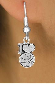 "<bR>                EXCLUSIVELY OURS!!<Br>         AN ALLAN ROBIN DESIGN!!<BR>CLICK HERE TO SEE 120+ EXCITING<BR>  CHANGES THAT YOU CAN MAKE!<BR>              LEAD & NICKEL FREE!!<BR>W681SE - ""I LOVE BASKETBALL"" &<BR>   EARRINGS FROM $4.50 TO $8.35"