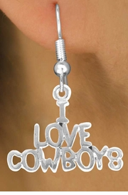 "<bR>                EXCLUSIVELY OURS!!<Br>          AN ALLAN ROBIN DESIGN!!<BR> CLICK HERE TO SEE 120+ EXCITING<BR>    CHANGES THAT YOU CAN MAKE!<BR>               LEAD & NICKEL FREE!!<BR>      W691SE - ""I LOVE COWBOYS""<BR> & EARRINGS FROM $4.50 TO $8.35"