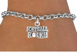 "<bR>               EXCLUSIVELY OURS!!<Br>          AN ALLAN ROBIN DESIGN!!<BR> CLICK HERE TO SEE 120+ EXCITING<BR>    CHANGES THAT YOU CAN MAKE!<BR>               LEAD & NICKEL FREE!!<BR>   W715SB -  ""SOFTBALL ROCKS""� &<Br>    BRACELET FROM $4.50 TO $8.35<Br>                               ©2010"