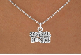 "<bR>               EXCLUSIVELY OURS!!<Br>         AN ALLAN ROBIN DESIGN!!<BR>CLICK HERE TO SEE 120+ EXCITING<BR>   CHANGES THAT YOU CAN MAKE!<BR>              LEAD & NICKEL FREE!!<BR>   W715SN - ""SOFTBALL ROCKS""� &<BR>   NECKLACE FROM $4.50 TO $8.35<bR>                               ©2010"