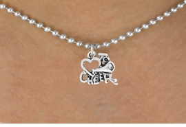 "<bR>                 EXCLUSIVELY OURS!!<Br>           AN ALLAN ROBIN DESIGN!!<BR>  CLICK HERE TO SEE 120+ EXCITING<BR>     CHANGES THAT YOU CAN MAKE!<BR>                LEAD & NICKEL FREE!!<BR>       W717SN - ""LOVE TO CHEER"" &<BR>     NECKLACE FROM $4.50 TO $8.35"