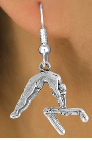 "<bR>                 EXCLUSIVELY OURS!!<Br>           AN ALLAN ROBIN DESIGN!!<BR>  CLICK HERE TO SEE 120+ EXCITING<BR>     CHANGES THAT YOU CAN MAKE!<BR>                LEAD & NICKEL FREE!!<BR>    W744SE - ""GYMNAST ON BAR"" &<BR>     EARRINGS FROM $4.50 TO $8.35"