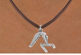 "<bR>                 EXCLUSIVELY OURS!!<Br>           AN ALLAN ROBIN DESIGN!!<BR>  CLICK HERE TO SEE 120+ EXCITING<BR>     CHANGES THAT YOU CAN MAKE!<BR>                LEAD & NICKEL FREE!!<BR>   W744SN - ""GYMNAST ON  BAR"" &<BR>     NECKLACE FROM $4.50 TO $8.35"