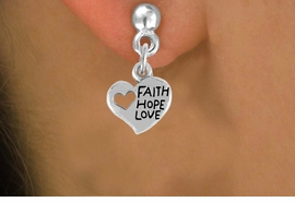 "<bR>                 EXCLUSIVELY OURS!!<Br>           AN ALLAN ROBIN DESIGN!!<BR>  CLICK HERE TO SEE 120+ EXCITING<BR>    CHANGES THAT YOU CAN MAKE!<BR>               LEAD & NICKEL FREE!!<BR>      W756SE - ""FAITH, HOPE, LOVE""<BR>     HEART CHARM EARRINGS FROM<Br>                       $4.50 TO $8.35"