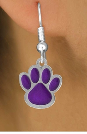 <bR>                EXCLUSIVELY OURS!!<Br>         AN ALLAN ROBIN DESIGN!!<BR>CLICK HERE TO SEE 120+ EXCITING<BR>   CHANGES THAT YOU CAN MAKE!<BR>              LEAD & NICKEL FREE!!<BR>     W783SE - LARGE PURPLE PAW &<BR>   EARRINGS FROM $4.50 TO $8.35