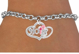 "<bR>                  EXCLUSIVELY OURS!!<BR>            AN ALLAN ROBIN DESIGN!!<BR>   CLICK HERE TO SEE 120+ EXCITING<BR>      CHANGES THAT YOU CAN MAKE!<BR>                 LEAD & NICKEL FREE!!<BR>W818SB - ""HOPE"" PINK AWARENESS<BR> RIBBON AND DOUBLE-HEART CHARM<Br>     & BRACELET FROM $4.50 TO $8.35"