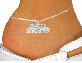 "<bR>               EXCLUSIVELY OURS!!<Br>         AN ALLAN ROBIN DESIGN!!<BR>CLICK HERE TO SEE 120+ EXCITING<BR>   CHANGES THAT YOU CAN MAKE!<BR>               LEAD & NICKEL FREE!!<BR>W822SAK - ""I WILL SURVIVE"" TEAL<Br>      AWARENESS RIBBON ANKLET<Br>               FROM $4.50 TO $8.35"