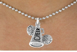 "<bR>               EXCLUSIVELY OURS!!<Br>         AN ALLAN ROBIN DESIGN!!<BR>CLICK HERE TO SEE 120+ EXCITING<BR>   CHANGES THAT YOU CAN MAKE!<BR>              LEAD & NICKEL FREE!!<BR>   W835SN - ""CHEER"" MEGAPHONE<Br>   NECKLACE FROM $4.50 TO $8.35"