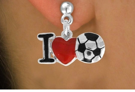"<bR>               EXCLUSIVELY OURS!!<BR>         AN ALLAN ROBIN DESIGN!!<BR>CLICK HERE TO SEE 120+ EXCITING<BR>   CHANGES THAT YOU CAN MAKE!<BR>              LEAD & NICKEL FREE!!<BR>        W840SE - ""I LOVE SOCCER""<Br>  EARRINGS FROM $4.50 TO $8.35<BR>                              ©2011"
