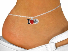 "<bR>               EXCLUSIVELY OURS!!<BR>         AN ALLAN ROBIN DESIGN!!<BR>CLICK HERE TO SEE 120+ EXCITING<BR>   CHANGES THAT YOU CAN MAKE!<BR>              LEAD & NICKEL FREE!!<BR> W842SAK - ""I LOVE VOLLEYBALL""<Br>      ANKLET FROM $4.50 TO $8.35"