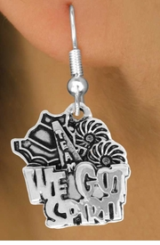 "<bR>               EXCLUSIVELY OURS!!<BR>         AN ALLAN ROBIN DESIGN!!<BR>CLICK HERE TO SEE 120+ EXCITING<BR>   CHANGES THAT YOU CAN MAKE!<BR>              LEAD & NICKEL FREE!!<BR>     W843SE - ""WE'VE GOT SPIRIT""<Br>  EARRINGS FROM $4.50 TO $8.35"