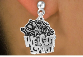 """<bR>               EXCLUSIVELY OURS!!<BR>         AN ALLAN ROBIN DESIGN!!<BR>CLICK HERE TO SEE 120+ EXCITING<BR>   CHANGES THAT YOU CAN MAKE!<BR>              LEAD & NICKEL FREE!!<BR>     W843SE - """"WE'VE GOT SPIRIT""""<Br>  EARRINGS FROM $4.50 TO $8.35"""