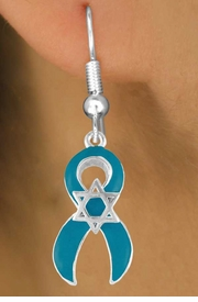 <bR>                EXCLUSIVELY OURS!!<Br>          AN ALLAN ROBIN DESIGN!!<BR>CLICK HERE TO SEE 120+ EXCITING<BR>   CHANGES THAT YOU CAN MAKE!<BR>       W724SE - TEAL AWARENESS<bR>          RIBBON & STAR OF DAVID<Br>  EARRINGS FROM  $4.50 TO $8.35