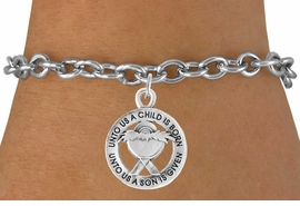<bR>                    EXCLUSIVELY OURS!!<Br>              AN ALLAN ROBIN DESIGN!!<BR>  CLICK HERE TO SEE 500+ EXCITING<BR>     CHANGES THAT YOU CAN MAKE!<BR>                LEAD & NICKEL FREE!!<BR> W759SB - UNTO US A CHILD IS BORN�<Br>         BRACELET FROM $4.50 TO $8.35