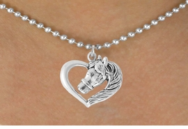 <bR>                 EXCLUSIVELY OURS!!<Br>           AN ALLAN ROBIN DESIGN!!<BR>  CLICK HERE TO SEE 500+ EXCITING<BR>     CHANGES THAT YOU CAN MAKE!<BR>                LEAD & NICKEL FREE!!<BR>  W760SN - HEART WITH HORSE HEAD <BR>     NECKLACE FROM $4.50 TO $8.35
