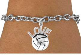 "<bR>                    EXCLUSIVELY OURS!!<Br>              AN ALLAN ROBIN DESIGN!!<BR>  CLICK HERE TO SEE 500+ EXCITING<BR>     CHANGES THAT YOU CAN MAKE!<BR>                LEAD & NICKEL FREE!!<BR> W764SB - VOLLEYBALL ""LOVE"" CHARM<Br>         BRACELET FROM $4.50 TO $8.35"