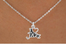 "<bR>                 EXCLUSIVELY OURS!!<Br>           AN ALLAN ROBIN DESIGN!!<BR>  CLICK HERE TO SEE 500+ EXCITING<BR>     CHANGES THAT YOU CAN MAKE!<BR>                LEAD & NICKEL FREE!!<BR>       W768SN - I ""LOVE"" JAZZ CHARM <BR>        NECKLACE FROM $4.50 TO $8.35"