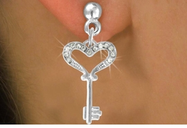 <bR>                    EXCLUSIVELY OURS!!<Br>              AN ALLAN ROBIN DESIGN!!<BR>  CLICK HERE TO SEE 500+ EXCITING<BR>     CHANGES THAT YOU CAN MAKE!<BR>                LEAD & NICKEL FREE!!<BR>   W774SE - CRYSTAL ACCENTED KEY <BR> TO MY HEART CHARM EARRINGS  <BR>               FROM $3.85 TO $8.50