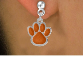<bR>                EXCLUSIVELY OURS!!<Br>         AN ALLAN ROBIN DESIGN!!<BR>CLICK HERE TO SEE 500+ EXCITING<BR>   CHANGES THAT YOU CAN MAKE!<BR>              LEAD & NICKEL FREE!!<BR>     W784SE - LARGE ORANGE PAW &<BR>   EARRINGS FROM $4.50 TO $8.35