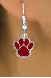 <bR>                EXCLUSIVELY OURS!!<Br>         AN ALLAN ROBIN DESIGN!!<BR>CLICK HERE TO SEE 500+ EXCITING<BR>   CHANGES THAT YOU CAN MAKE!<BR>              LEAD & NICKEL FREE!!<BR>   W785SE - MEDIUM RED PAW &<BR>   EARRINGS FROM $4.50 TO $8.35