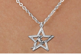 <bR>               EXCLUSIVELY OURS!!<BR>         AN ALLAN ROBIN DESIGN!!<BR>CLICK HERE TO SEE 600+ EXCITING<BR>   CHANGES THAT YOU CAN MAKE!<BR>      CADMIUM,  LEAD & NICKEL FREE!! <BR>W1311SN -  SILVER TONE GYMNAST POSED <Br>IN STAR CHARM  & CHILDS NECKLACE <BR>      FROM $4.50 TO $8.35 �2012
