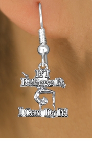 "<bR>                EXCLUSIVELY OURS!!<BR>           AN ALLAN ROBIN DESIGN!!<BR>   CLICK HERE TO SEE 600+ EXCITING<BR>        CHANGES THAT YOU CAN MAKE!<BR>     CADMIUM, LEAD & NICKEL FREE!!<BR> W1407SE - ""IF I BELIEVE IT, I CAN DO IT!"" <Br>        GYMNASTICS CHARM EARRINGS <BR>         FROM $4.50 TO $8.35 �2013"