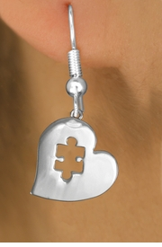 <bR>               EXCLUSIVELY OURS!!<BR>         AN ALLAN ROBIN DESIGN!!<BR>CLICK HERE TO SEE 600+ EXCITING<BR>   CHANGES THAT YOU CAN MAKE!<BR>      CADMIUM,  LEAD & NICKEL FREE!! <BR>W295SE -  POLISHED SILVER TONE HEART <BR> AUTUSM PUZZLE CHARM EARRINGS  <BR>      FROM $4.50 TO $8.35 �2012