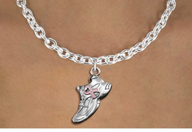 <bR>               EXCLUSIVELY OURS!!<BR>         AN ALLAN ROBIN DESIGN!!<BR>CLICK HERE TO SEE 600+ EXCITING<BR>   CHANGES THAT YOU CAN MAKE!<BR>      CADMIUM,  LEAD & NICKEL FREE!! <BR>W312SN -  SILVER TONE SNEAKER WITH <Br>PINK RIBBON HEART CHARM  & NECKLACE <BR>      FROM $4.50 TO $8.35 �2012