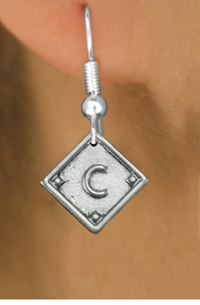 """<bR>                   EXCLUSIVELY OURS!!<BR>             AN ALLAN ROBIN DESIGN!!<BR>    CLICK HERE TO SEE 600+ EXCITING<BR>       CHANGES THAT YOU CAN MAKE!<BR>      LEAD, NICKEL & CADMIUM FREE!! <BR>    PLAYERS POSITION ON CHARM!!!  <BR>   W1254SE -  """"BASEBALL DIAMOND"""" <Br>         SILVER TONE CHARM EARRINGS <BR>          FROM $3.60 TO $8.00 �2012"""