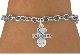 "<bR>               EXCLUSIVELY OURS!!<BR>         AN ALLAN ROBIN DESIGN!!<BR>CLICK HERE TO SEE 600+ EXCITING<BR>   CHANGES THAT YOU CAN MAKE!<BR>  LEAD, NICKEL & CADMIUM FREE!!<BR>         W1020SB - ""I LOVE SOCCER"" <Br>   & BRACELET FROM $4.15 TO $8.00 �2011"