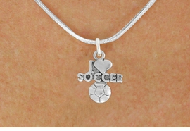 "<bR>               EXCLUSIVELY OURS!!<BR>         AN ALLAN ROBIN DESIGN!!<BR>CLICK HERE TO SEE 600+ EXCITING<BR>   CHANGES THAT YOU CAN MAKE!<BR>  LEAD, NICKEL & CADMIUM FREE!!<BR>         W1020SN - ""I LOVE SOCCER""<Br>  NECKLACE FROM $4.50 TO $8.35"