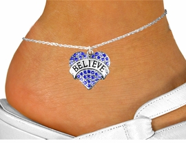 "<bR>                 EXCLUSIVELY OURS!!<BR>           AN ALLAN ROBIN DESIGN!!<BR>  CLICK HERE TO SEE 600+ EXCITING<BR>     CHANGES THAT YOU CAN MAKE!<BR>LEAD, NICKEL & CADMIUM FREE!!<BR>W1210SAK - BLUE CRYSTAL ""BELIEVE"" <BR>          HEART CHARM & ANKLET <Br>        FROM $5.40 TO $9.85 �2012"