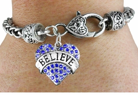 "<bR>                     EXCLUSIVELY OURS!!<BR>               AN ALLAN ROBIN DESIGN!!<BR>      CLICK HERE TO SEE 600+ EXCITING<BR>         CHANGES THAT YOU CAN MAKE!<BR>         LEAD, NICKEL & CADMIUM FREE!!<BR>    W1210SB - BLUE CRYSTAL ""BELIEVE"" <BR>HEART CHARM  & HEART CLASP BRACELET <BR>         FROM $5.63 TO $12.50 �2012"