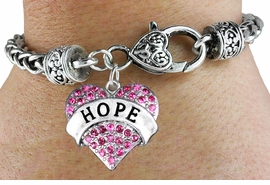 "<bR>                       EXCLUSIVELY OURS!!<BR>                 AN ALLAN ROBIN DESIGN!!<BR>        CLICK HERE TO SEE 600+ EXCITING<BR>           CHANGES THAT YOU CAN MAKE!<BR>          LEAD, NICKEL & CADMIUM FREE!!<BR>     W1214SB - FUCHSIA CRYSTAL ""HOPE"" <BR>HEART CHARM  & HEART CLASP BRACELET<BR>           FROM $5.63 TO $12.50 �2012"