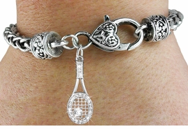 <bR>                             EXCLUSIVELY OURS!!<BR>                       AN ALLAN ROBIN DESIGN!!<BR>              CLICK HERE TO SEE 600+ EXCITING<BR>                 CHANGES THAT YOU CAN MAKE!<BR>                LEAD, NICKEL & CADMIUM FREE!!<BR>W1217SB - CRYSTAL TENNIS RACQUET CHARM  &<Br>HEART CLASP BRACELET FROM $5.63 TO $12.50 �2012