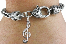 <bR>                   EXCLUSIVELY OURS!!<BR>             AN ALLAN ROBIN DESIGN!!<BR>    CLICK HERE TO SEE 600+ EXCITING<BR>       CHANGES THAT YOU CAN MAKE!<BR>       LEAD, NICKEL & CADMIUM FREE!!<BR>   W1252SB - CRYSTAL TREBLE CLEF <BR>CHARM & HEART CLASP BRACELET <BR>         FROM $5.63 TO $12.50 �2012