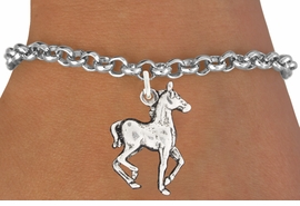 "<bR>               EXCLUSIVELY OURS!!<BR>         AN ALLAN ROBIN DESIGN!!<BR>CLICK HERE TO SEE 600+ EXCITING<BR>   CHANGES THAT YOU CAN MAKE!<BR>              LEAD & NICKEL FREE!!<BR>     W1002SB - ""TROTTING HORSE"" <Br>   & BRACELET FROM $4.15 TO $8.00"