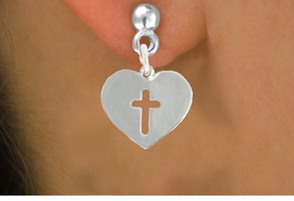 "<bR>               EXCLUSIVELY OURS!!<BR>         AN ALLAN ROBIN DESIGN!!<BR>CLICK HERE TO SEE 600+ EXCITING<BR>   CHANGES THAT YOU CAN MAKE!<BR>              LEAD & NICKEL FREE!!<BR>W1004SE - ""HEART WITH CENTER CROSS""<Br>  EARRINGS FROM $4.50 TO $8.35"