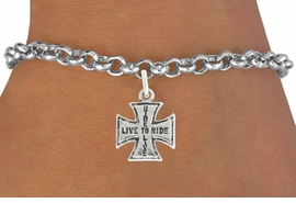 "<bR>               EXCLUSIVELY OURS!!<BR>         AN ALLAN ROBIN DESIGN!!<BR>CLICK HERE TO SEE 600+ EXCITING<BR>   CHANGES THAT YOU CAN MAKE!<BR>              LEAD & NICKEL FREE!!<BR>W1006SB - ""LIVE TO RIDE, RIDE TO LIVE"" <Br>   & BRACELET FROM $4.15 TO $8.00"