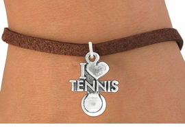 "<bR>               EXCLUSIVELY OURS!!<BR>         AN ALLAN ROBIN DESIGN!!<BR>CLICK HERE TO SEE 600+ EXCITING<BR>   CHANGES THAT YOU CAN MAKE!<BR>              LEAD & NICKEL FREE!!<BR>         W1019SB - ""I LOVE TENNNIS"" <Br>   & BRACELET FROM $4.15 TO $8.00"