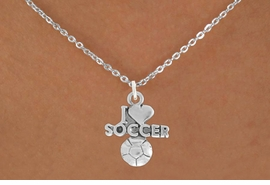 "<bR>               EXCLUSIVELY OURS!!<BR>         AN ALLAN ROBIN DESIGN!!<BR>CLICK HERE TO SEE 600+ EXCITING<BR>   CHANGES THAT YOU CAN MAKE!<BR>              LEAD & NICKEL FREE!!<BR>         W1020SN - ""I LOVE SOCCER""<Br>  NECKLACE FROM $4.50 TO $8.35"