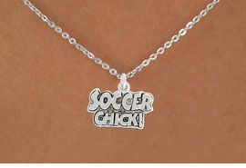 "<bR>               EXCLUSIVELY OURS!!<BR>         AN ALLAN ROBIN DESIGN!!<BR>CLICK HERE TO SEE 600+ EXCITING<BR>   CHANGES THAT YOU CAN MAKE!<BR>              LEAD & NICKEL FREE!!<BR>      W1022SN - ""SOCCER CHICK""<Br>  NECKLACE FROM $4.50 TO $8.35"