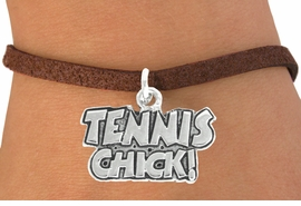 """<bR>               EXCLUSIVELY OURS!!<BR>         AN ALLAN ROBIN DESIGN!!<BR>CLICK HERE TO SEE 600+ EXCITING<BR>   CHANGES THAT YOU CAN MAKE!<BR>              LEAD & NICKEL FREE!!<BR>         W1027SB - """"TENNIS CHICK"""" <Br>   & BRACELET FROM $4.15 TO $8.00"""