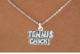 "<bR>               EXCLUSIVELY OURS!!<BR>         AN ALLAN ROBIN DESIGN!!<BR>CLICK HERE TO SEE 600+ EXCITING<BR>   CHANGES THAT YOU CAN MAKE!<BR>              LEAD & NICKEL FREE!!<BR>        W1027SN - ""TENNIS CHICK""<Br>  NECKLACE FROM $4.50 TO $8.35"