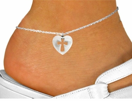 "<bR>               EXCLUSIVELY OURS!!<BR>         AN ALLAN ROBIN DESIGN!!<BR>CLICK HERE TO SEE 600+ EXCITING<BR>   CHANGES THAT YOU CAN MAKE!<BR>              LEAD & NICKEL FREE!!<BR>  W1029SAK - ""HEART WITH CROSS""<Br>     ANKLET FROM $3.35 TO $8.00"