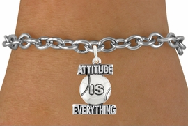 "<bR>                          EXCLUSIVELY OURS!!<BR>                   AN ALLAN ROBIN DESIGN!!<BR>           CLICK HERE TO SEE 600+ EXCITING<BR>              CHANGES THAT YOU CAN MAKE!<BR>                         LEAD & NICKEL FREE!!<BR>      W1047SB - ""ATTITUDE IS EVERYTHING"" <br>                    TENNIS BALL BRACELET<br>             FROM $4.15 TO $8.00 ©2011"