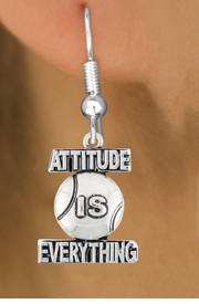 "<bR>                               EXCLUSIVELY OURS!!<BR>                        AN ALLAN ROBIN DESIGN!!<BR>                CLICK HERE TO SEE 600+ EXCITING<BR>                   CHANGES THAT YOU CAN MAKE!<BR>                              LEAD & NICKEL FREE!!<BR>           W1047SE - ""ATTITUDE IS EVERYTHING""<Br>                          TENNIS BALL  EARRING <BR>                                FROM $4.50 TO $8.35 ©2011"