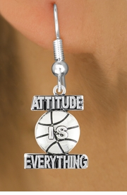 "<bR>                        EXCLUSIVELY OURS!!<BR>                  AN ALLAN ROBIN DESIGN!!<BR>         CLICK HERE TO SEE 600+ EXCITING<BR>            CHANGES THAT YOU CAN MAKE!<BR>                       LEAD & NICKEL FREE!!<BR>     W1048SE - ""ATTITUDE IS EVERYTHING""<Br>                     BASKETBALL EARRINGS <br>                FROM $4.50 TO $8.35 ©2011"